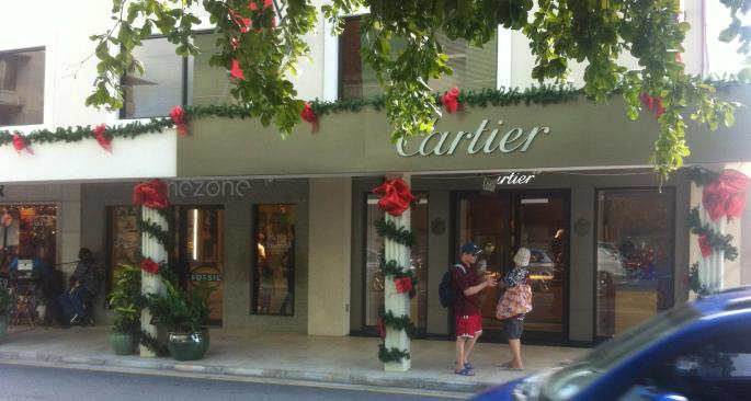 Cartier in downtown George Town, Grand Cayman displays Christmas decorations.