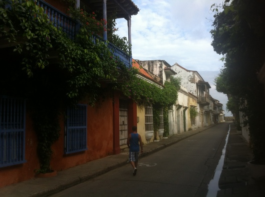 The streets of old town Cartagena, Colombia early in the morning.