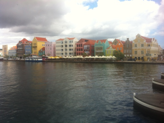 View of the Punda quarter of Willemstad, Curacao with pontoon bridge on right.