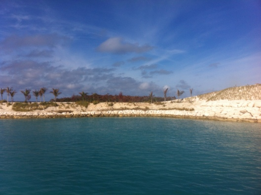 The man made entrance to the little harbour at Great Stirrup Cay, Bahamas