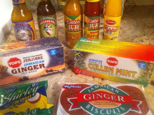 Some of the products we brought home from Jamaica, including Cullen Mint Herbal Tea, Gingery Mango Sauce and Ginger Biscuits.