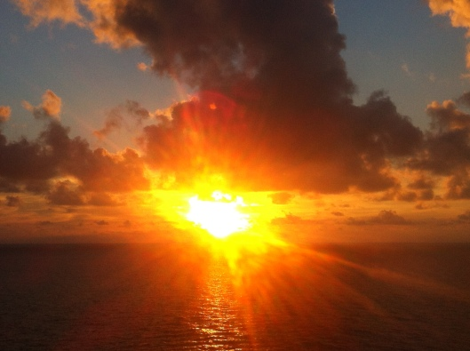 View from the NCL Sun of the most incredible sunset near St. Martin on 22 November 2012.