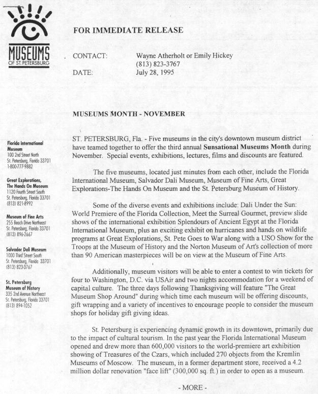 A press release from 1995 publicizing Museum Month in downtown St. Petersburg.