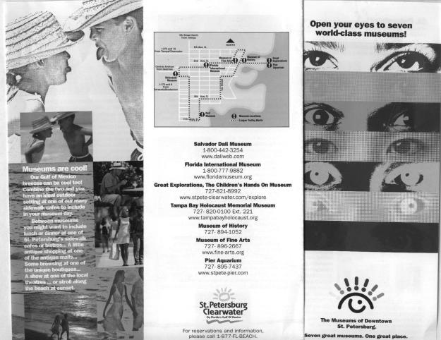 New product development grant money was available and the museums applied as a group.  It took some coaxing and there was still some push-back that bed tax money shouldn't be spent promoting cultural attractions in downtown St. Petersburg. But it passed and this black and white scan shows a little of the brochure that was produced focusing on the seven downtown St. Petersburg museums.