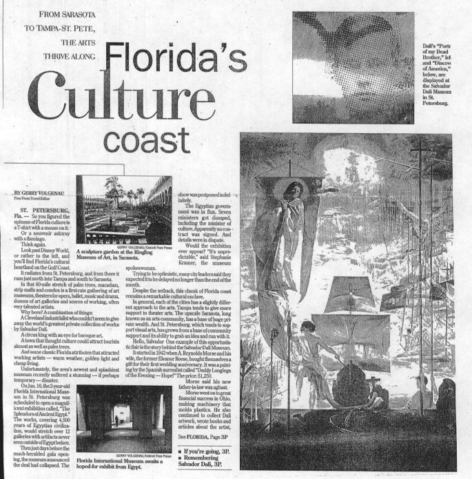 The story that finally broke for downtown St. Petersburg being recognized as the cultural center of the west coast of Florida.