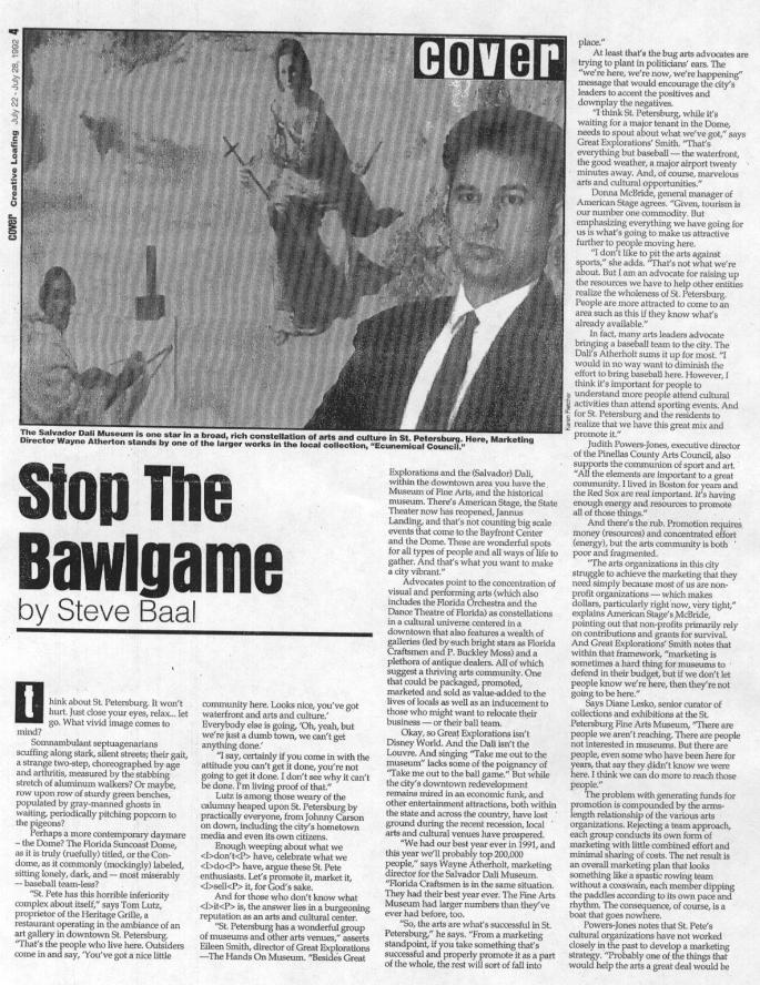 A 1992 story in Creative Loafing focused on downtown St. Petersburg.
