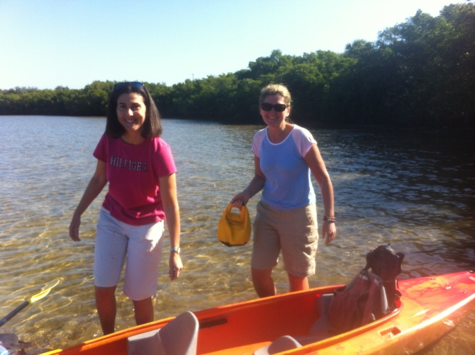 My friends from France at the put in where you rent kayaks at Weedon Island, St. Petersburg.
