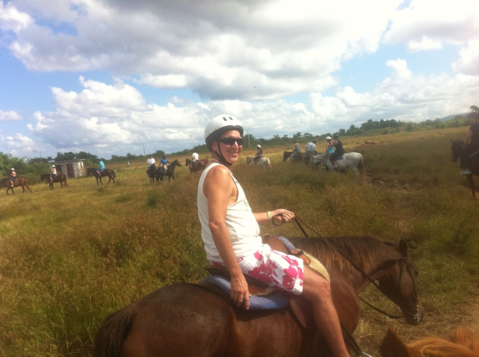 Yep, me on my horse riding on land.