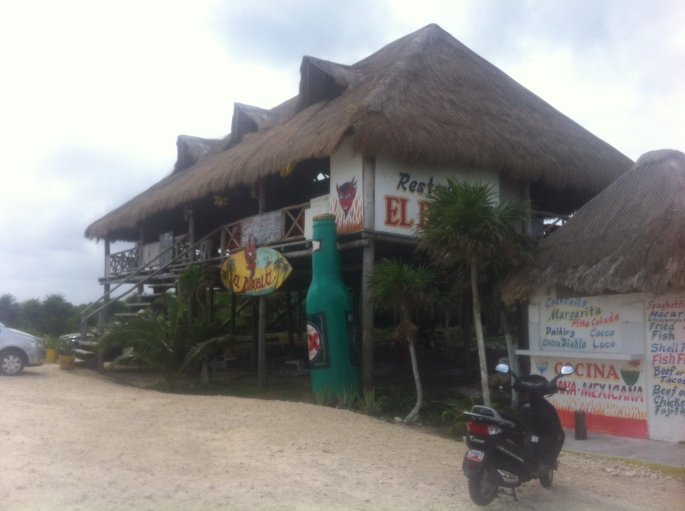 Dive bar El Diablo on the east cost of Cozumel Mexico