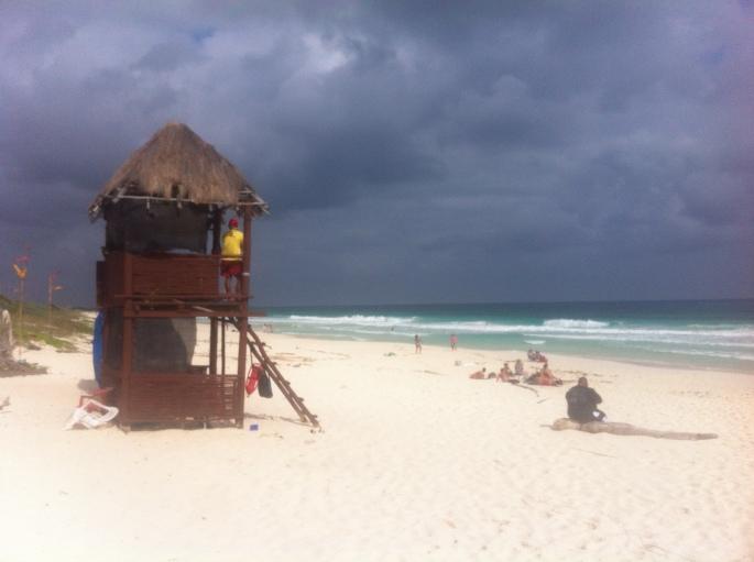 The beach scene across from El Diablo bar in Cozumel Mexico.