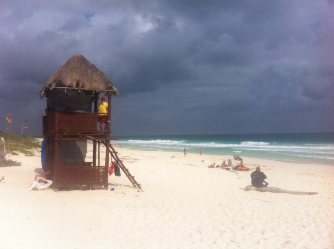 The beach scene across from El Diablo bar in Cozumel Mexico.