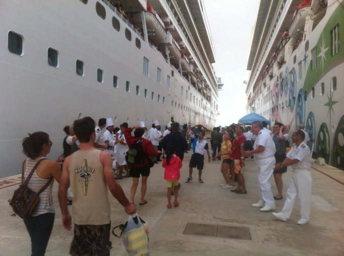 The most pleasant surprise of the entire cruise was this line of ship staff welcoming passengers back on board.  It was very entertaining and guests would dance down the aisle.