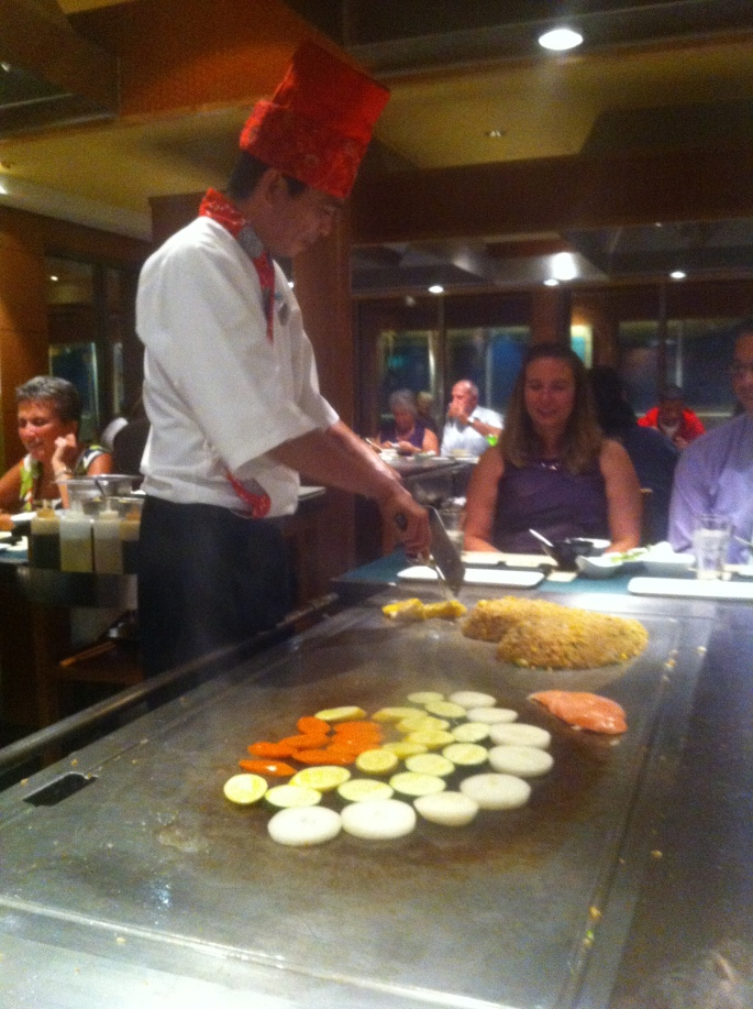 The $25 per person Teppanyaki on the Norwegian Pearl is very entertaining and the food is quite good.