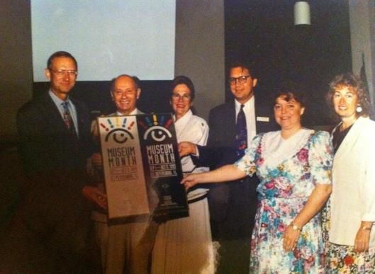 The first Museum Month in 1993 is celebrated at City Hall with Mayor David Fischer, Michael Milkovich (Museum of Fine Arts), Mary Wyatt Allen (St. Petersburg Museum of History), Wayne Atherholt (Dali Museum), Eileen Smith (Great Explorations) and Anita Treiser with the City of St. Petersburg.