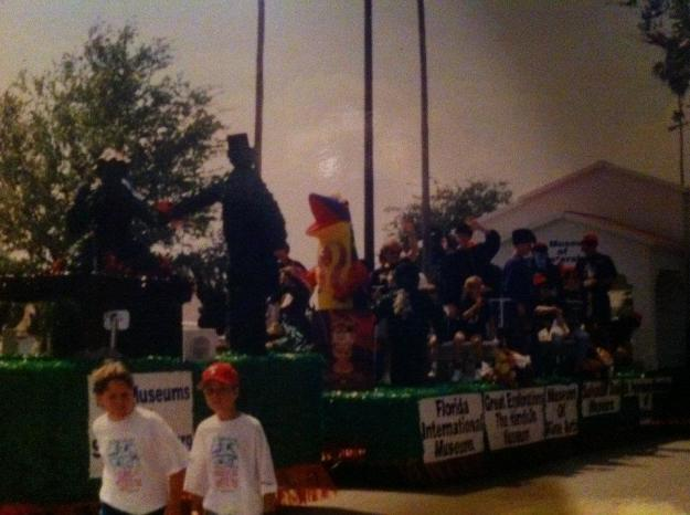 I remember going to Tampa with David Blackman to look at this float for the Festival of States parade to promote the then-five downtown Museums.  We all participated but I recall the woman from the Museum of History having mole crickets run up and down her hoop skirt during the parade.  It was a lot of effort and collectively we figured it would be more cost-effective to focus on doing other cooperative things.  This was about 1994.
