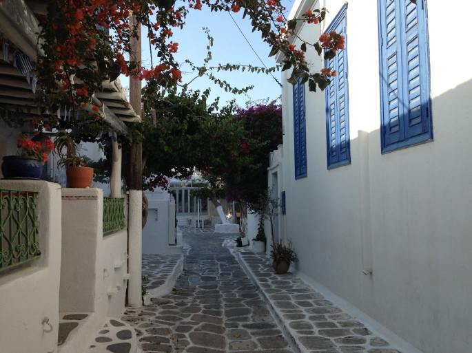 View of a typical street in Mykonos Town.