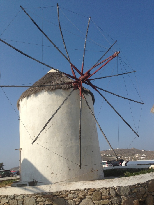 One of the famous old windmills on Mykonos, Greece