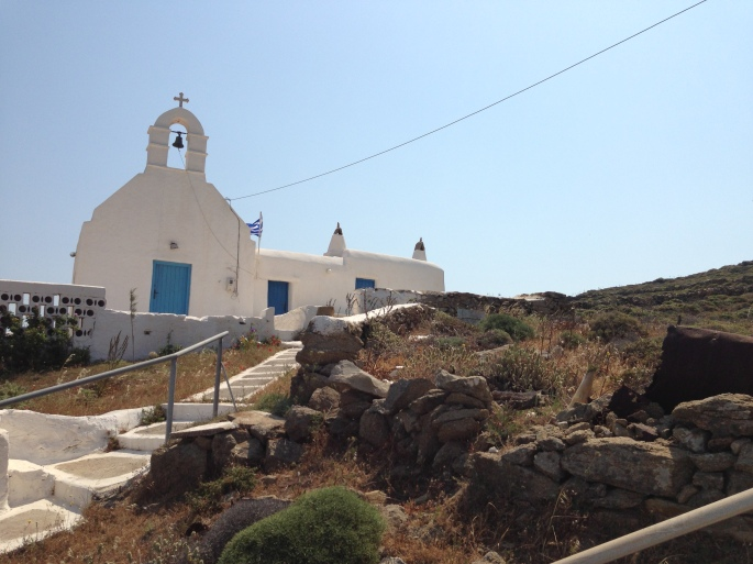 Along the road to Ano Mera village on Mykonos were many small Greek chapels.