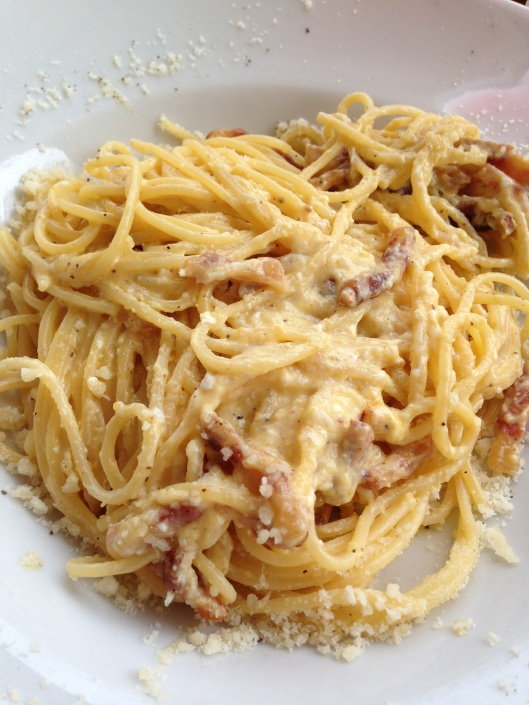 The carbonara at Sloppy Sam's, Piazza Campo de Fiori, 9, 00186 Rome, Italy