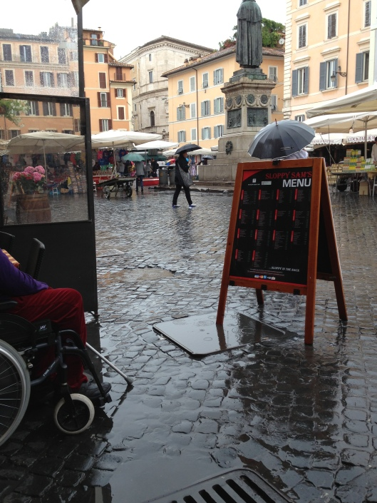 View from the outdoor terrace at Sloppy Sam's, Piazza Campo di Fiori, Rome, Italy.