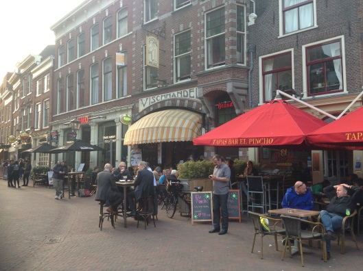 One of the many cafe and restaurant districts in Haarlem.