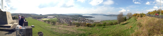A panoramic shot of the view from Lyle Hill of Gourock, the Argyle Hills and the River Clyde as seen from Greenock.