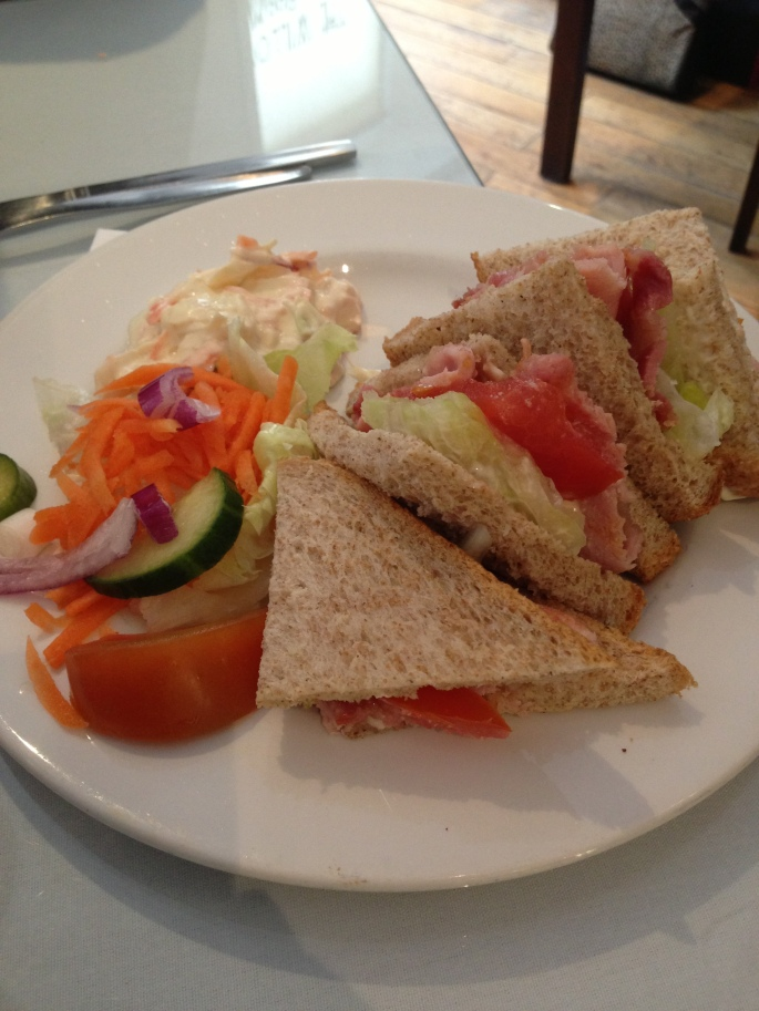 Bacon, Lettuce, Tomato & Mayonnaise sandwich at the Charles Rennie Mackintosh designed Willow Tea Room, Glasgow, Scotland.