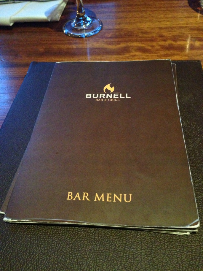 Burnell bar menu at the Dublin Airport Hilton.