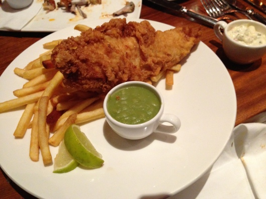 Fish and Chips at the Dublin Airport Hilton with the chips being pretty awful but the fish being excellent.