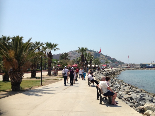 The beautiful waterfront of Kusadasi Turkey has lots of great cafes and ice cream shops.