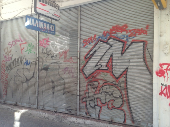 Graffiti was pervasive in Chania Town.