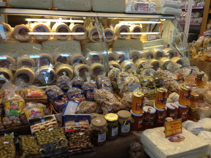 The municipal market was packed with all sorts of products and well worth a visit in Khania, Crete, Greece.