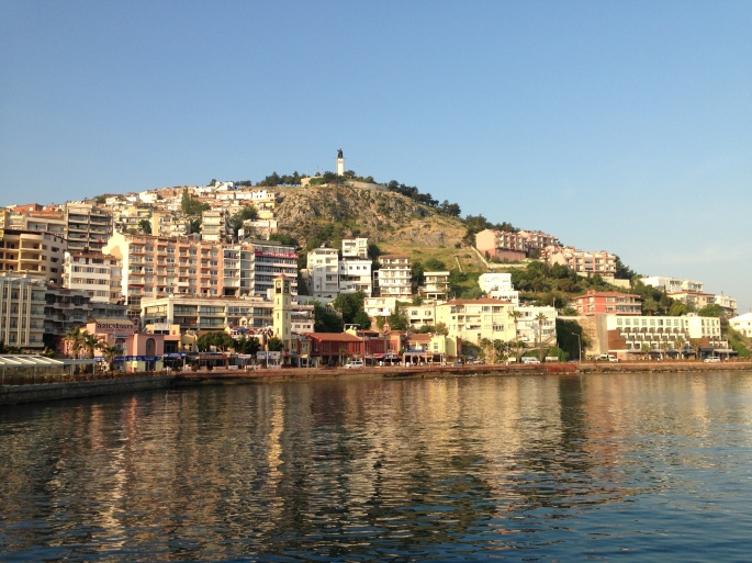 The incredible view of the port town of Kusadasi with the statue of Ataturk looking down on the town protecting it.