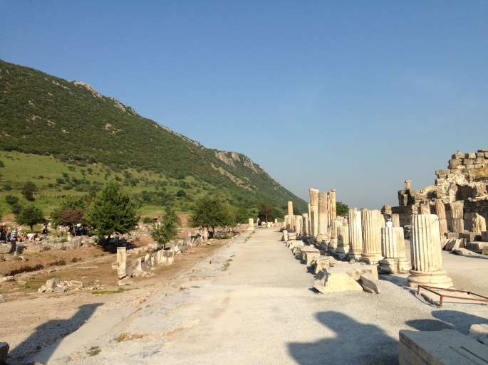 One of the many streets you can walk down in Ephesus, Turkey.