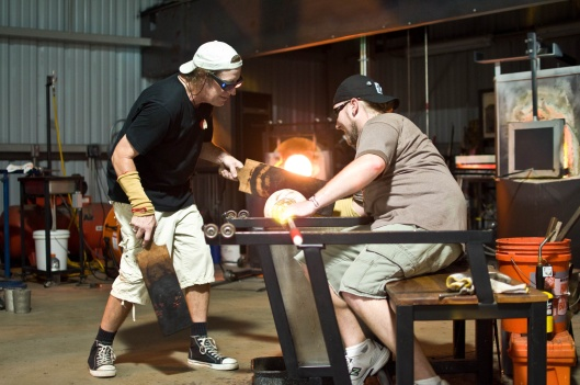 Live glass blowing demonstrations happen daily, four times a day, at the Morean Glass Studio & Hot Shop.