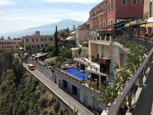 One of the many places you'll want to linger in Taormina.  Views of Mount Etna in the distance were fascinating.