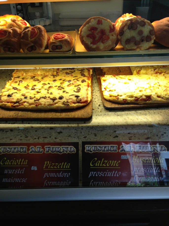 We opted for pizza at multiple locations in Taormina and Messina instead of a sit down lunch.  Great way to try several types of pizza.