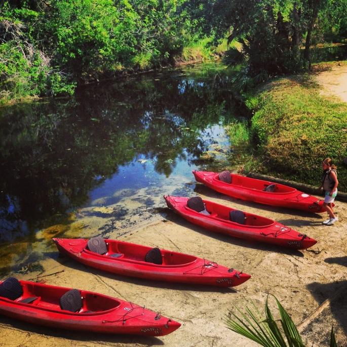 Kayaks await visitors at the Brevard Zoo where you can rent one and go on a guided tour.