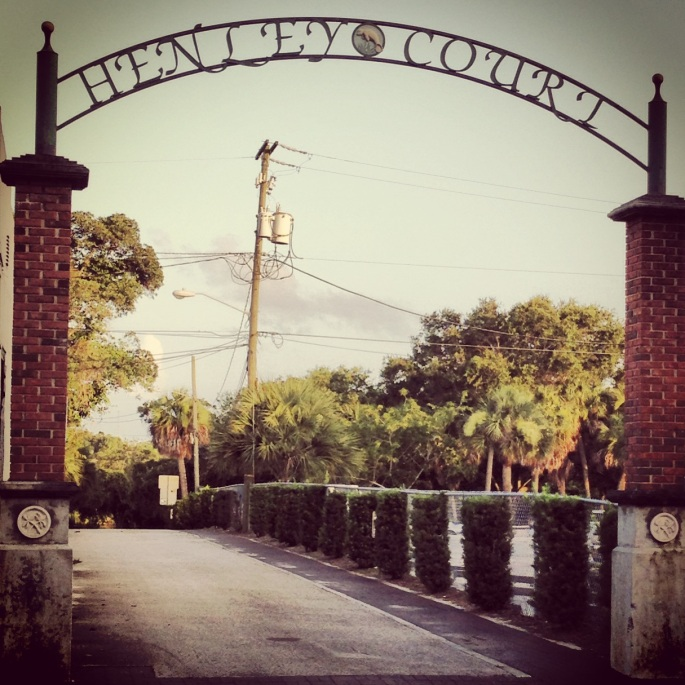 Great archway in downtown Melbourne, Florida for Henley Court.