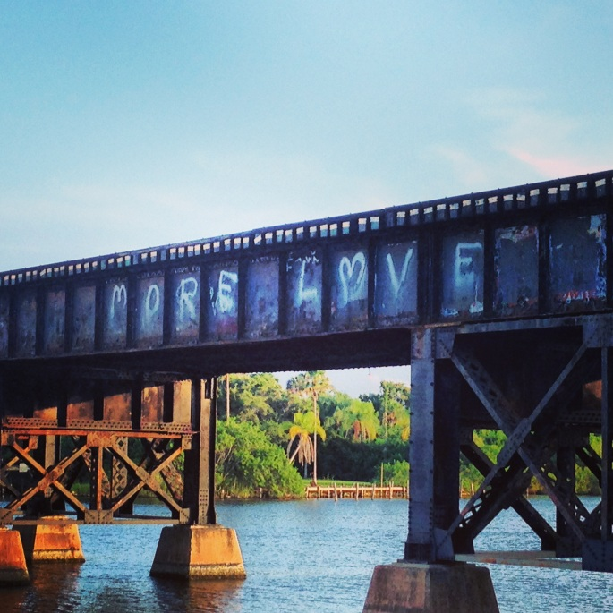 A view of the old railway bridge still in use in downtown Melbourne, Florida