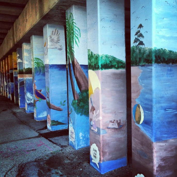 Under a bridge along the waterfront in downtown Melbourne, Florida.