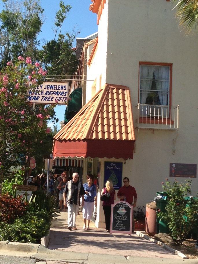 A crowd departs a local community theater in downtown Cocoa, Florida.