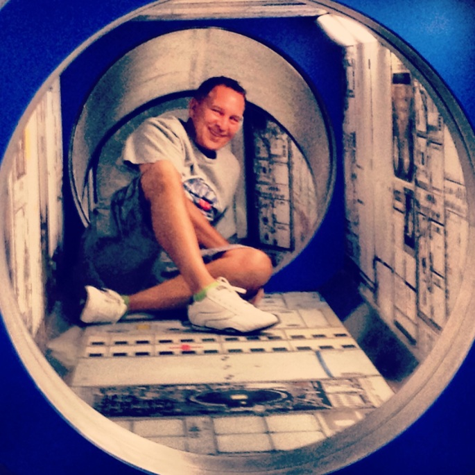 I think I was the only adult who crawled through this - it was loads of fun but found out afterwards I was supposed to remove my shoes.  Kennedy Space Center, Titusville, Florida.