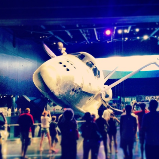 People marveled at seeing the Space Shuttle at the New Atlantis Experience, Kennedy Space Center, Titusville, Florida