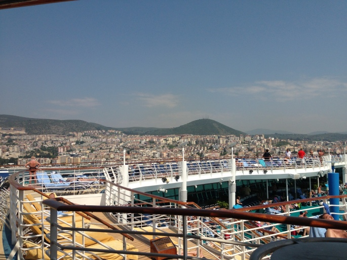 Going through the Straits of Messina on the RCCL Navigator of the Seas from the Sky Bar.