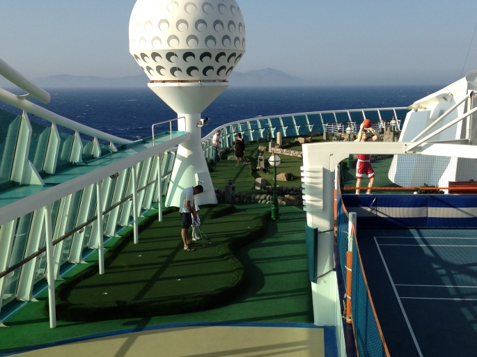 Mini Golf onboard the Royal Caribbean Navigator of the Seas.