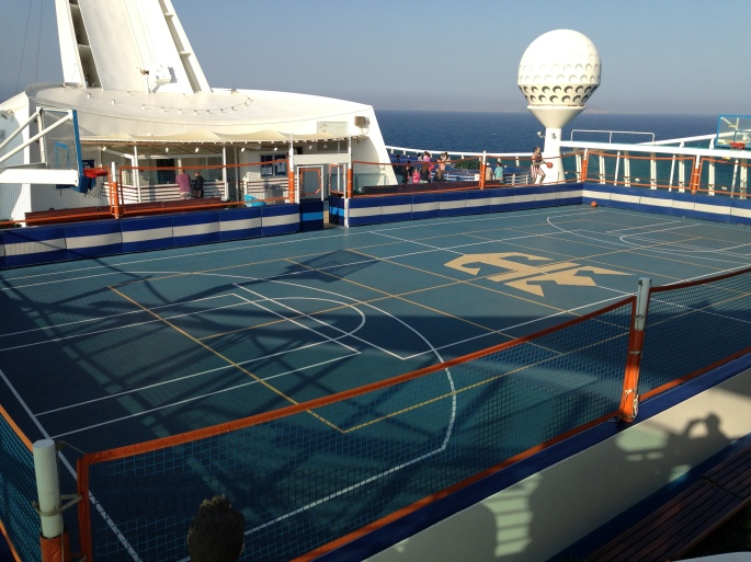 Sports courts onboard the Royal Caribbean Navigator of the Seas.