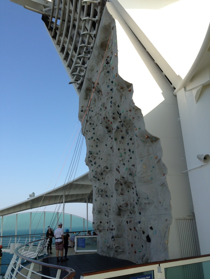 The ubiquitous rock climbing wall is always popular.  This one aboard the Royal Caribbean Navigator of the Seas.