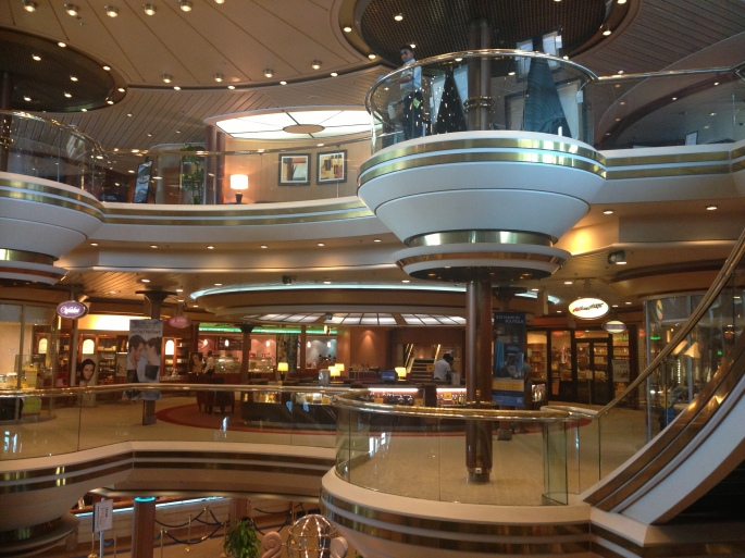 Atrium with shops and other activities on Royal Caribbean Majesty of the Seas.