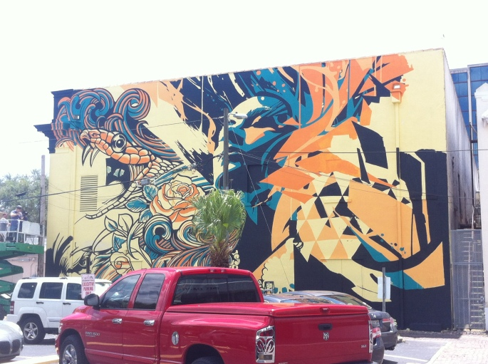 There are many murals in the Central Arts District of St. Petersburg.  A walking tour of them is a great thing for anyone interested in street art.  This one is behind the State Theatre in the 600 block of Central Avenue, St. Petersburg, Florida